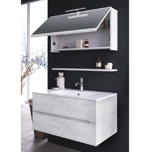 Arredo bagno venere2 da 90cm con 2 cassetti e specchiera for Piccoli mobili da bagno
