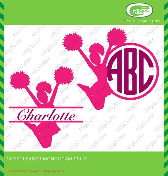 Cheerleader Monogram Split Frames Svg Dxf Png Eps By Alligcutter Cricut Design