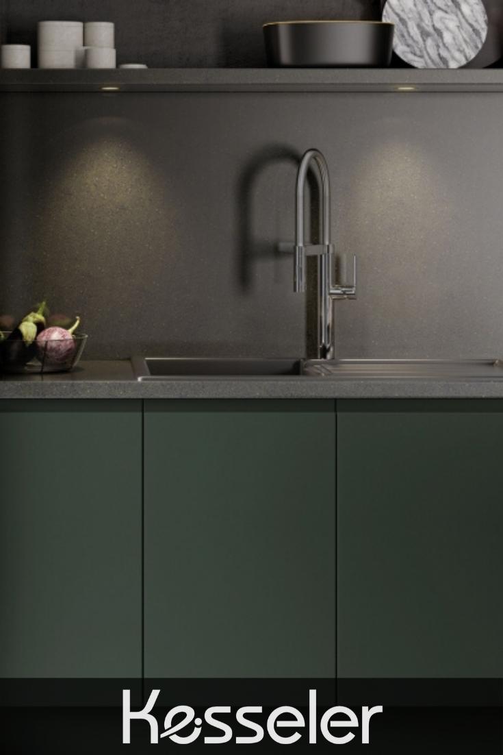 Stunning Matt Green Handleless Kitchen With Dark Grey Worktop From Kesseler Dark Green Grey H Handleless Kitchen Green Kitchen Cabinets Grey Worktop Kitchen