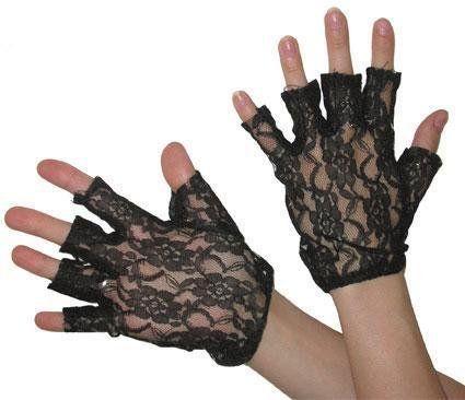 Black and White Fingerless Lace Gloves Wrist Length Retro Wedding Prom 80s
