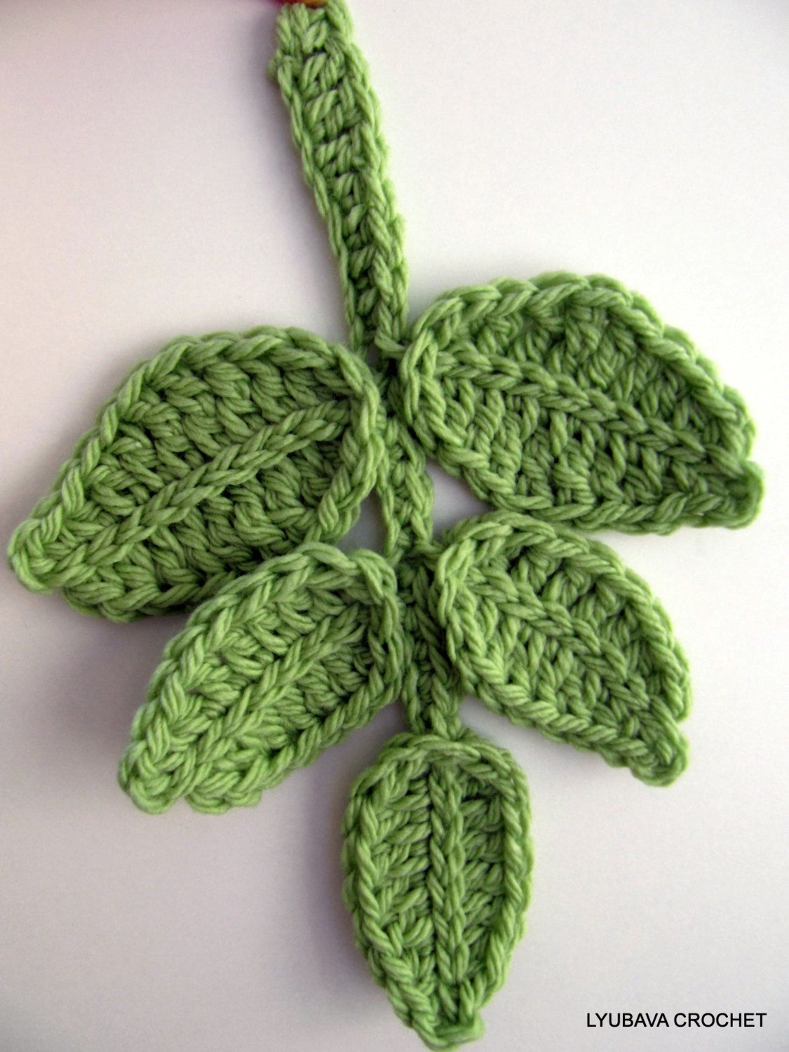 Crochet Pattern Leaf Branch Pattern Crochet Flower Applique