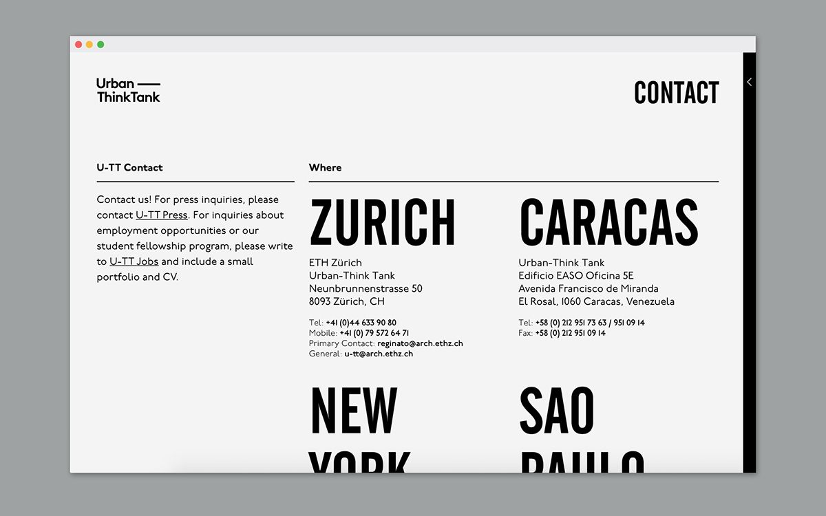 Urban Think Tank S Website On Behance Web Design Minimal Website Design Web Design Inspiration