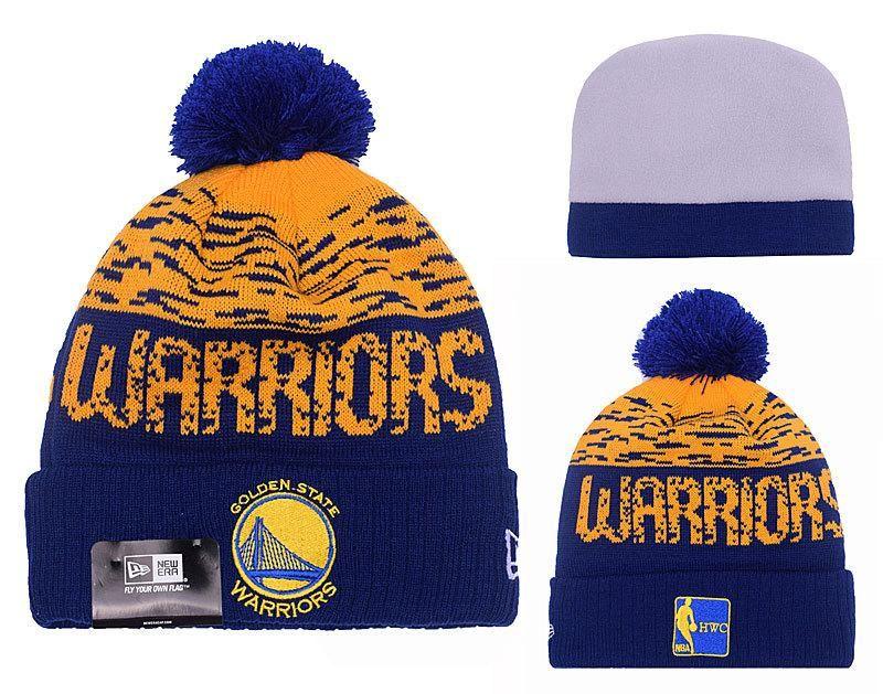3fa30a3b8ff Men s   Women s Golden State Warriors New Era HWC NBA On-Field Sports Knit  Pom Pom Beanie Hat - Gold   Navy