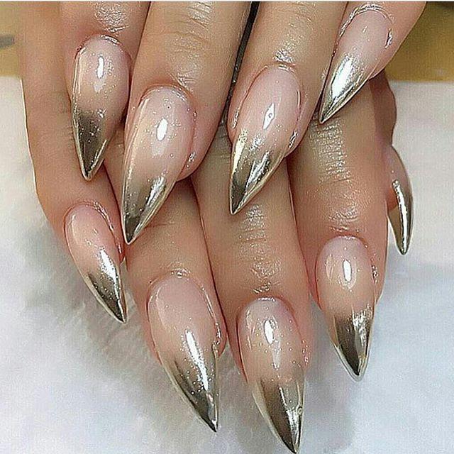 Chrome Stiletto Design Acrylic Nails Nails Pinterest Stilettos