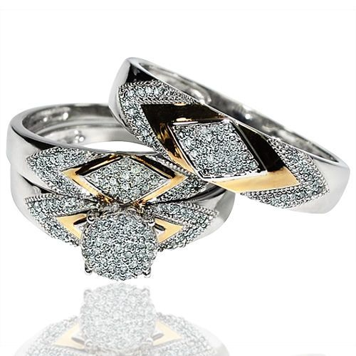 His Her Wedding Rings Set Trio Men Women 10K White Yellow Gold Two