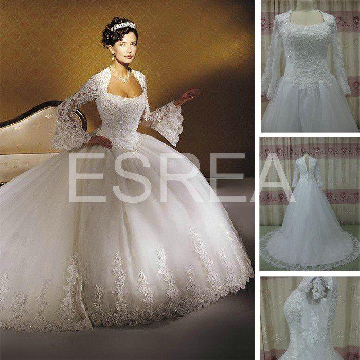Promatin 90 GD069 Unique Design Vintage Princess Elegant Lace Wedding Dress Long Sleeve On AliExpress
