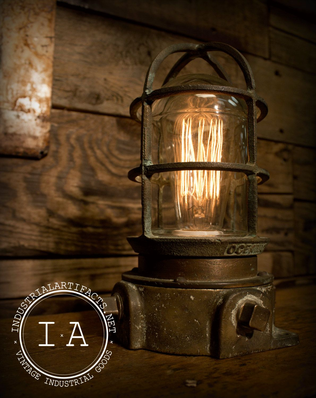 Vintage Industrial Nautical Bronze Brass Explosion Proof Desk Lamp Steampunk Lighting 18500 Via Etsy