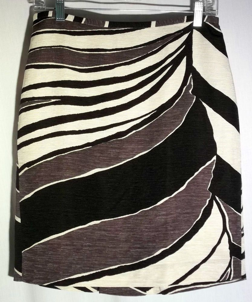 ANN TAYLOR Silk/Linen Abstract Print Straight Skirt - Back Pleat - Size 4 #AnnTaylor #StraightPencil