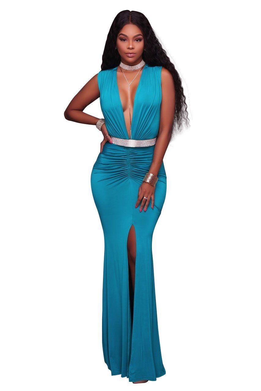 Vneck pure color sleeveless long dress elegant