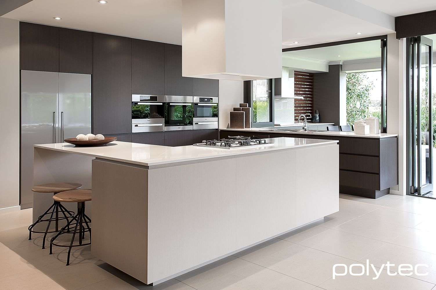 Doors and drawers in polytec melamine truffle lini for Melamine kitchen designs