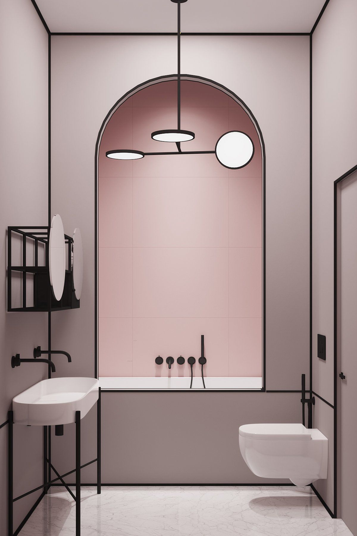 Just loving the pastel colours and strong black lines in this Parisian apartment designed by Crosby Studios Art Deco Washroom