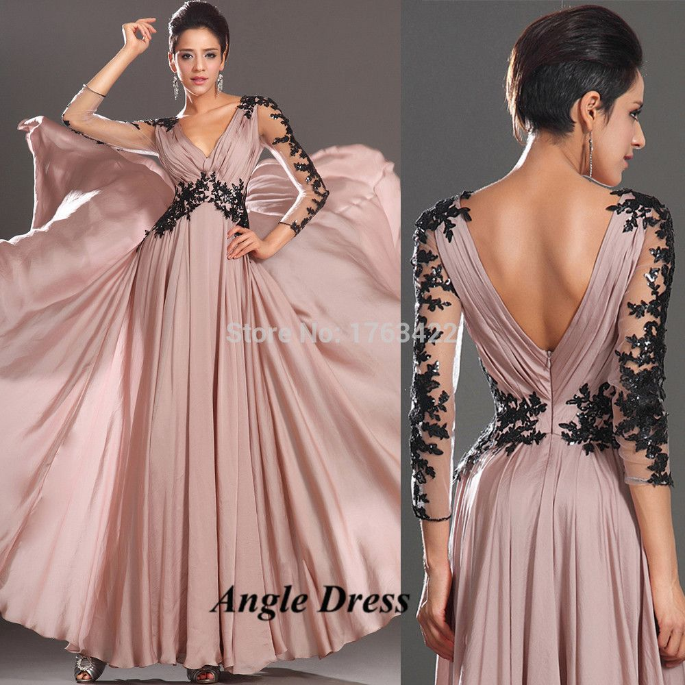 Light Pink Black Lace Long Evening Gowns Long Sleeve Prom Dresses ...