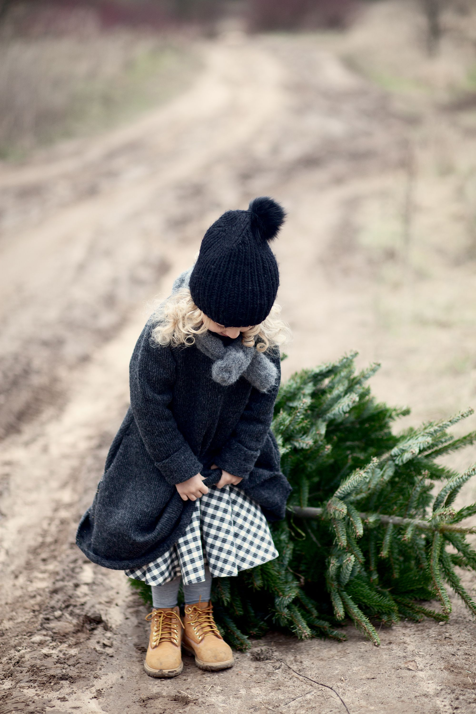 little girl and a cristmas tree