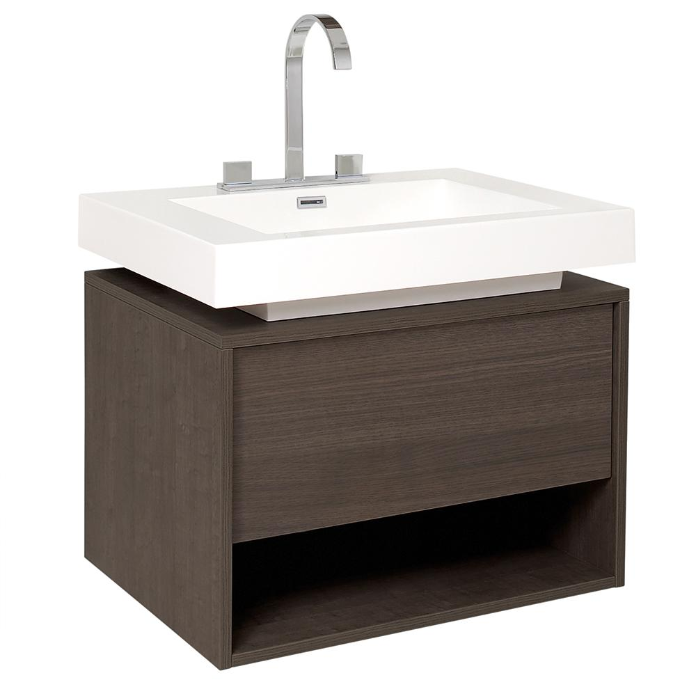Fresca Potenza 28 In Bath Vanity In Gray Oak With Acrylic Vanity