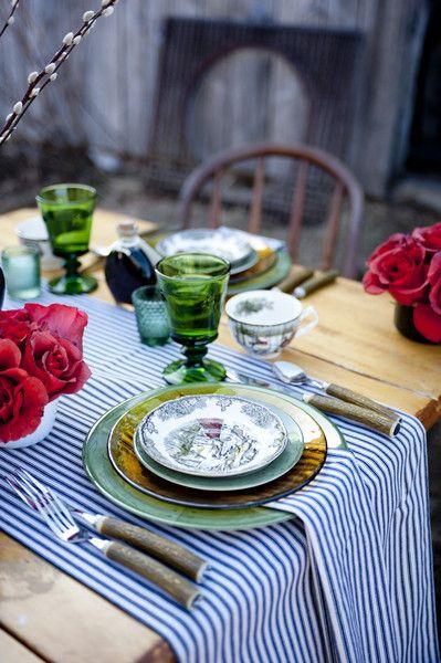Vintage Chine + Striped #Tablescape I Maine Seasons Events I #weddingdecor #placesetting