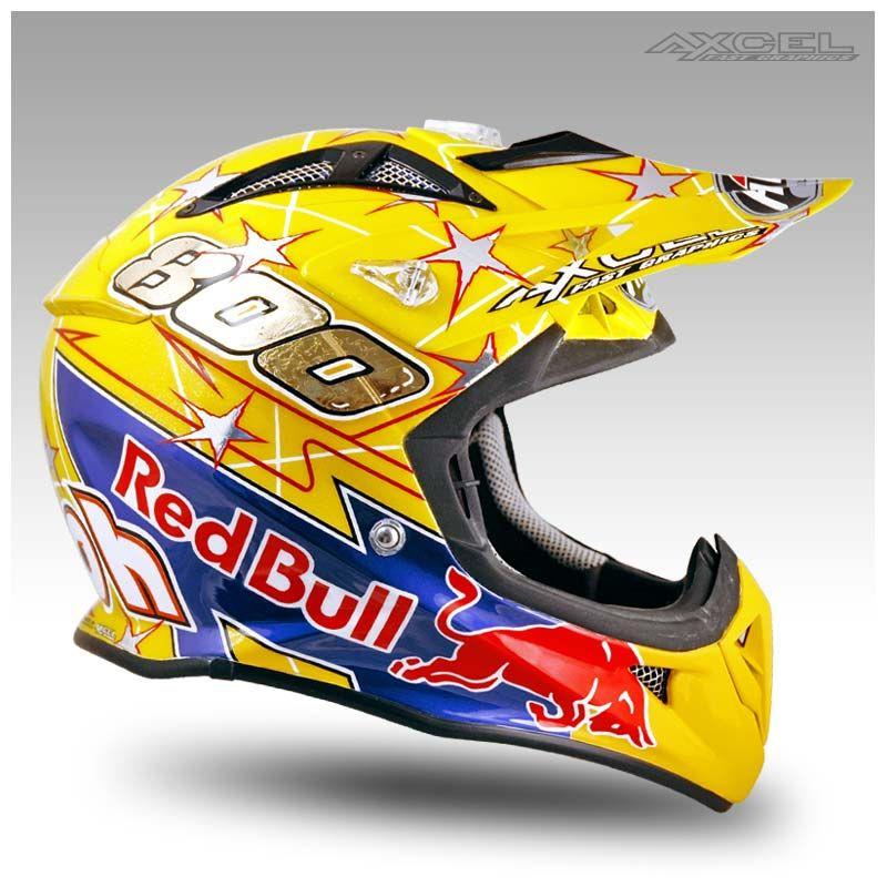 Mike Alessi Red Bull Axcel Fast Graphics Custom Helmet Painting And Race Gear Motocross Helmets Helmet Custom Helmets