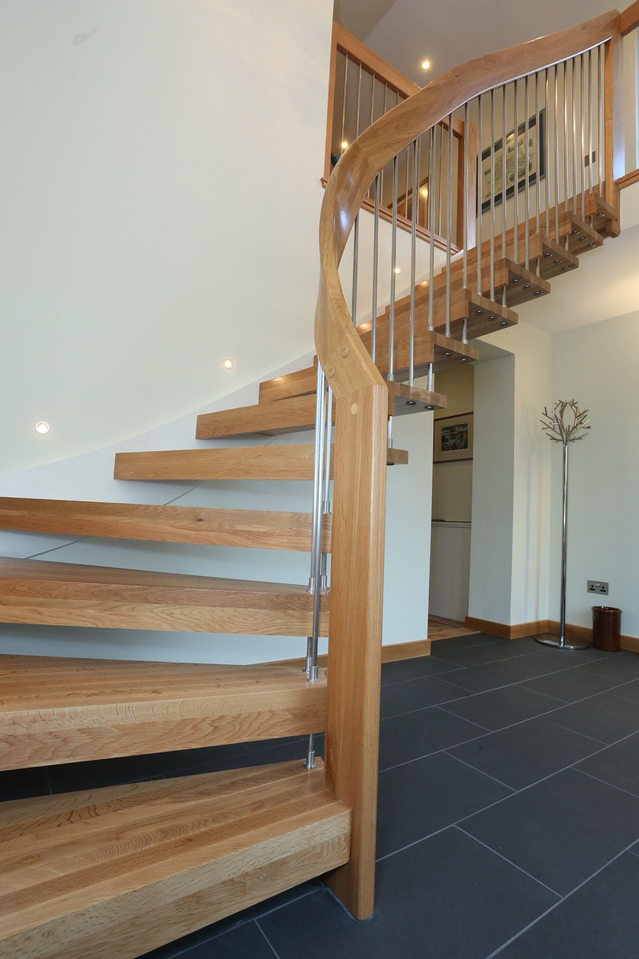 Open Staircase Lovable Pine Wood Natural Polished Curved Open Staircase