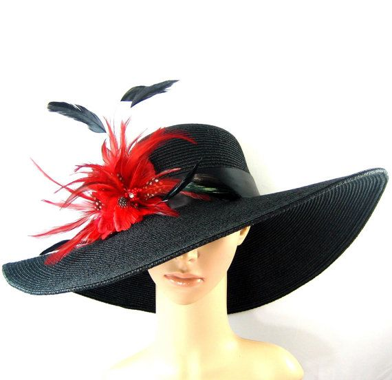 02c131b6f73 Handmade Red feathers Flowers Derby Hat