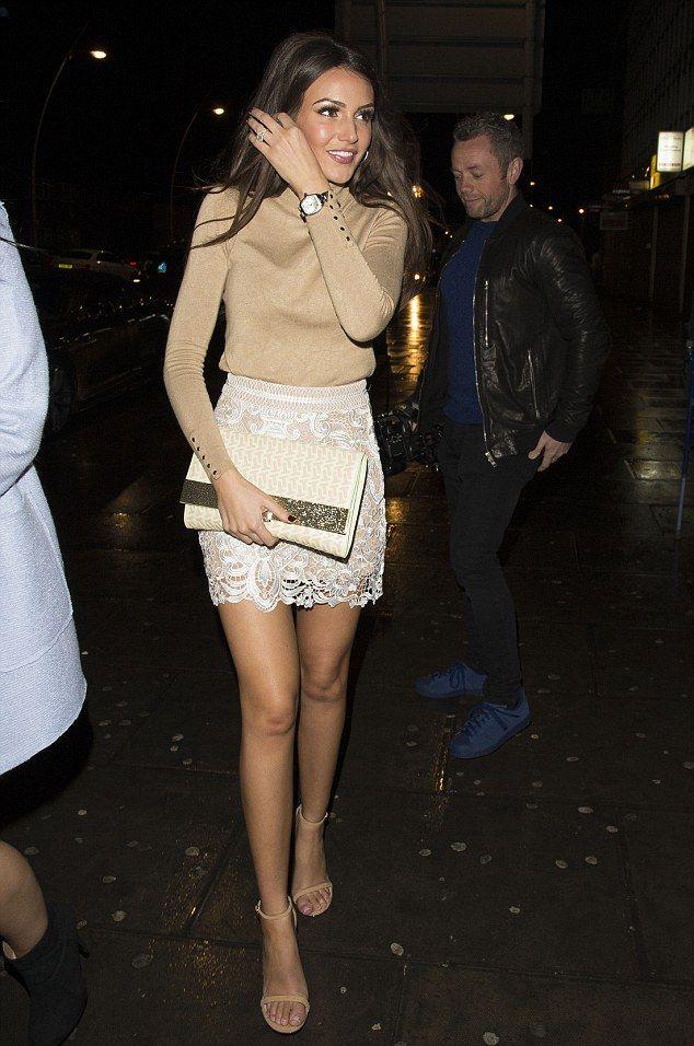 Michelle Keegan.. Zara roll neck sweater + Michelle Keegan for Lipsy Spring 2015 lace skirt..