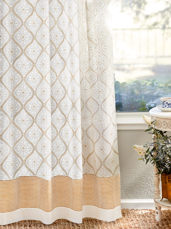 Vanilla Glace White And Gold India Curtain Panel Curtains