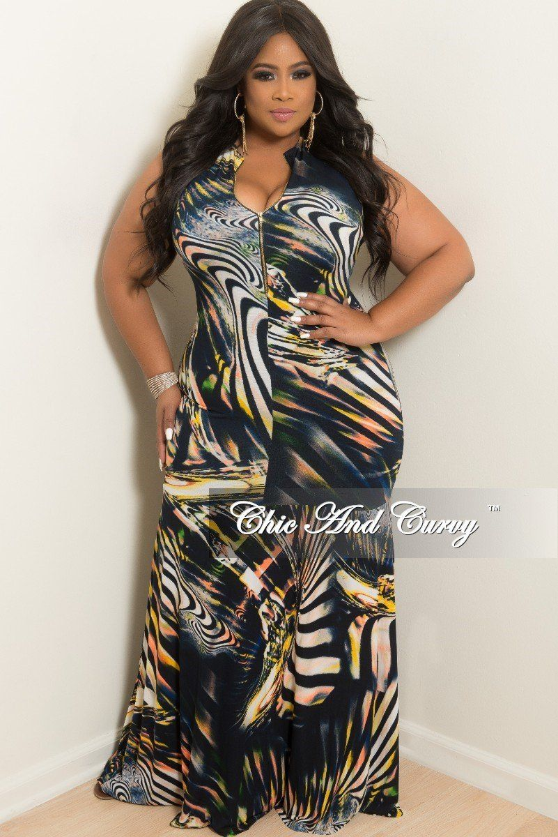 b2464c1c9cf Plus Size BodyCon Sleeveless Mermaid Maxi Gown w  Front Zipper – Chic And  Curvy