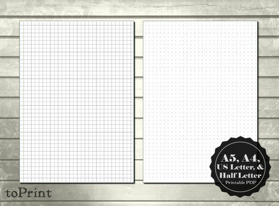 graphic regarding A5 Dot Grid Printable called 5mm Simple Sq. Grid and Dot Grid Printable Planner Internet pages