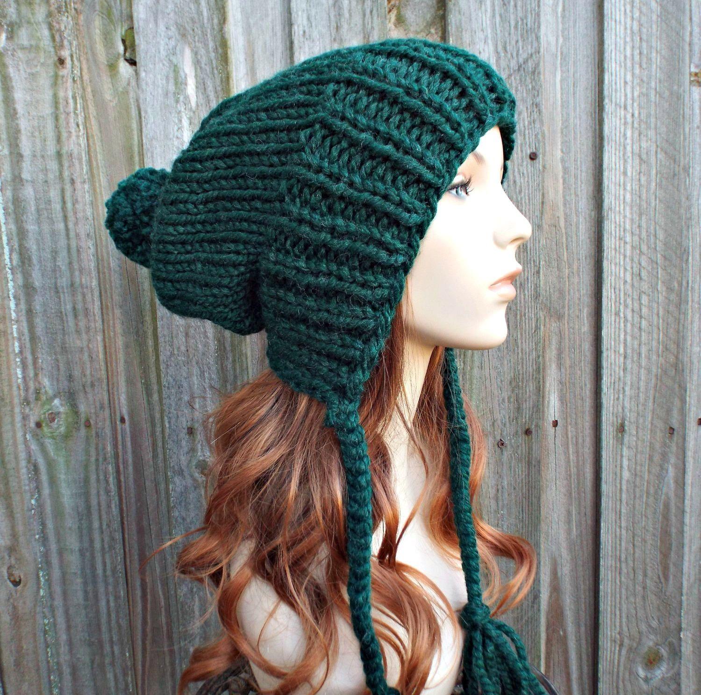 f06cfea6e39 Pine Green Chunky Knit Hat Womens Hat - Green Hat Green Beanie Green Slouchy  Beanie - Charlotte - Womens Pom Pom Hat - READY TO SHIP