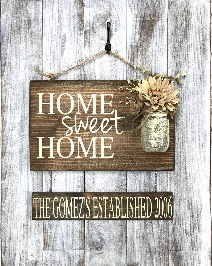 Rustic Shabby Chic Home Decor Home Sweet Home Wood Sign Red Roan Signs Custom Rustic Home Decor Personalized Wood Signs Rustic Wood Signs Mason Jar Sign