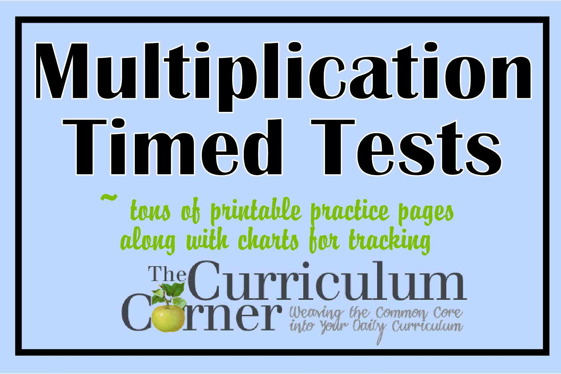 Multiplication Timed Tests Common Core Standards Summer