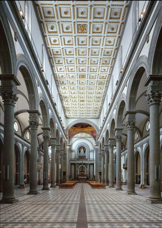 Filippo Brunelleschi, Basilica di San Lorenzo, interno ...