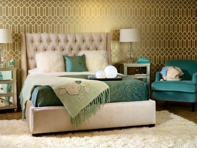 Schlafzimmer-Tapeten mit gold-effekt-geometrische Muster ...