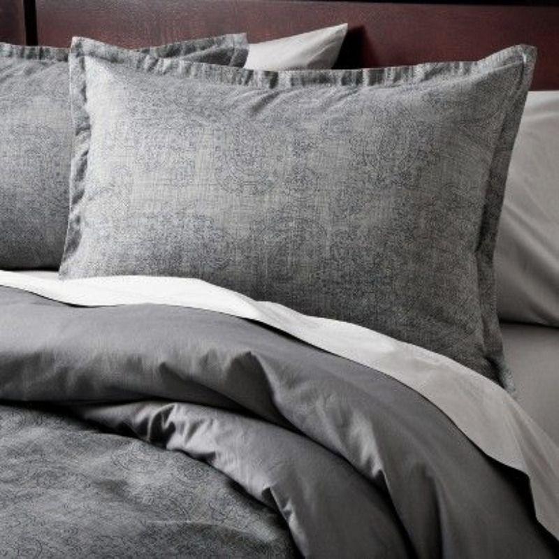 Target Home Full Queen Charcoal Gray Duvet Cover 2 Standard Shams Set Paisley Target Contemporary Target Bedding Gray Bedspread Target Pillows