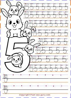 Preschool Number 5 Tracing Worksheets Printable Coloring Pages For Kids Atividade Alfabeto Educacao Infantil Matematica Para Criancas Atividades Letra E