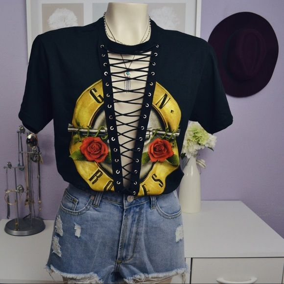 LARGE Guns&Roses lace up tee Made by myself not LF LF Tops Tees - Short Sleeve