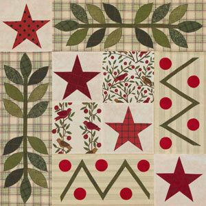 """stars and leaves applique from """"all people quilt""""  http://www.allpeoplequilt.com/techniques/basics/10-inch-squares-patterns_5.html"""