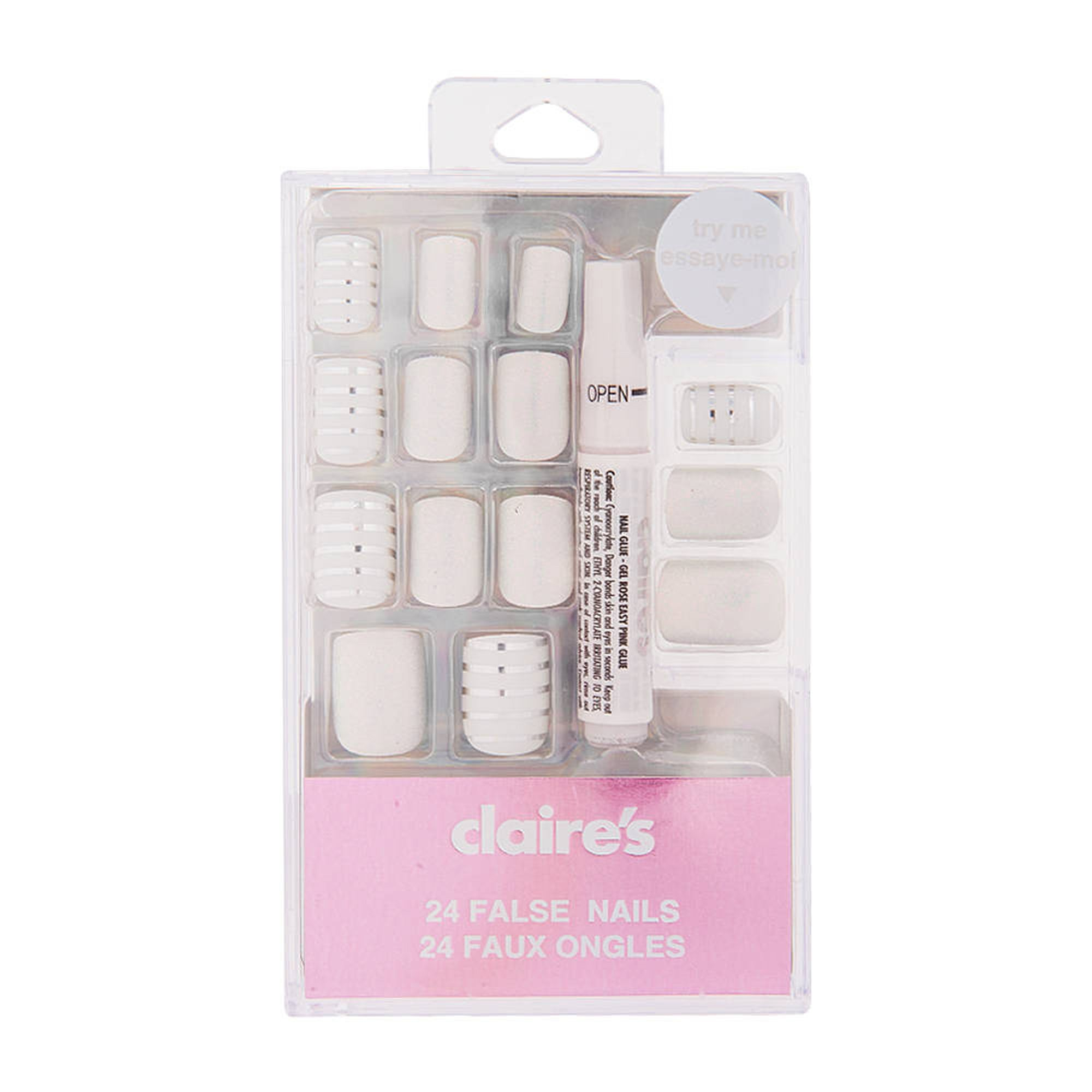dae68ebae69 Claire's Glitter Striped Faux Nail Set - White, 24 Pack in 2019 ...