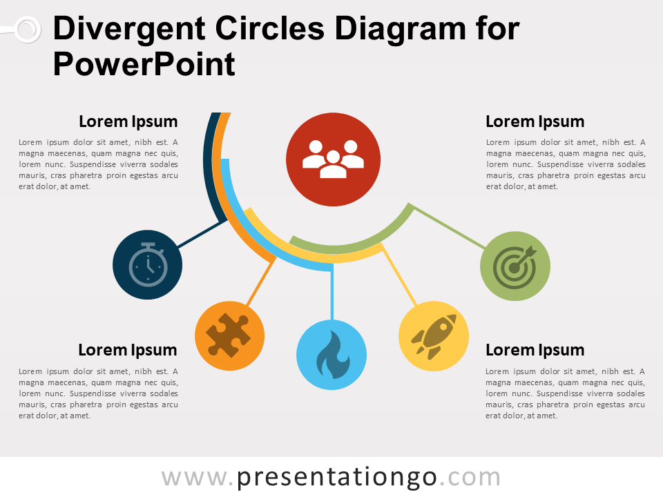 Divergent Circles Diagram For Powerpoint And Google Slides Circle Diagram Diagram Design Circle Infographic
