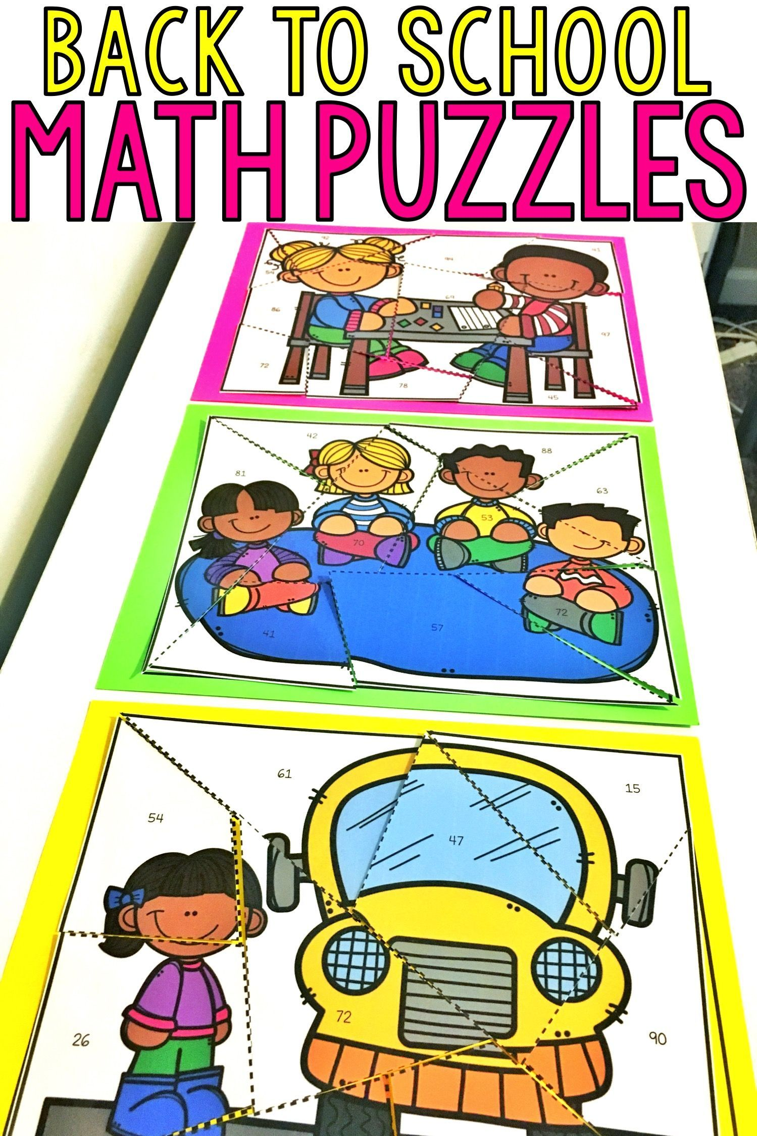 Math Puzzles For Back To School