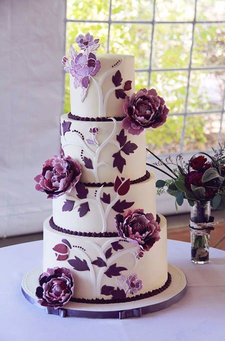 4 Tier Purple Peony Wedding Cakespurple