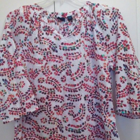 Multi Color Cotton Top Sz. L Cutest cotton top, size large. Pull over, just adorable on!  Lightweight! Good condition.Thanks ladies! Westbound Tops