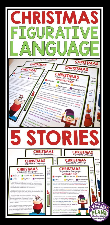 Christmas Figurative Language 5 Stories Alliteration High