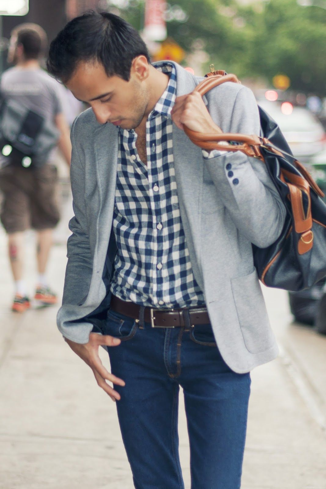 Blue plaid  grey jacket #mensstyle