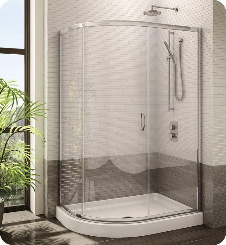 Fleurco Fa483 11 40 Signature Capri Half Round Frameless Curved Glass Sliding Shower Door Wi Shower Doors Small Bathroom Makeover Sliding Shower Door