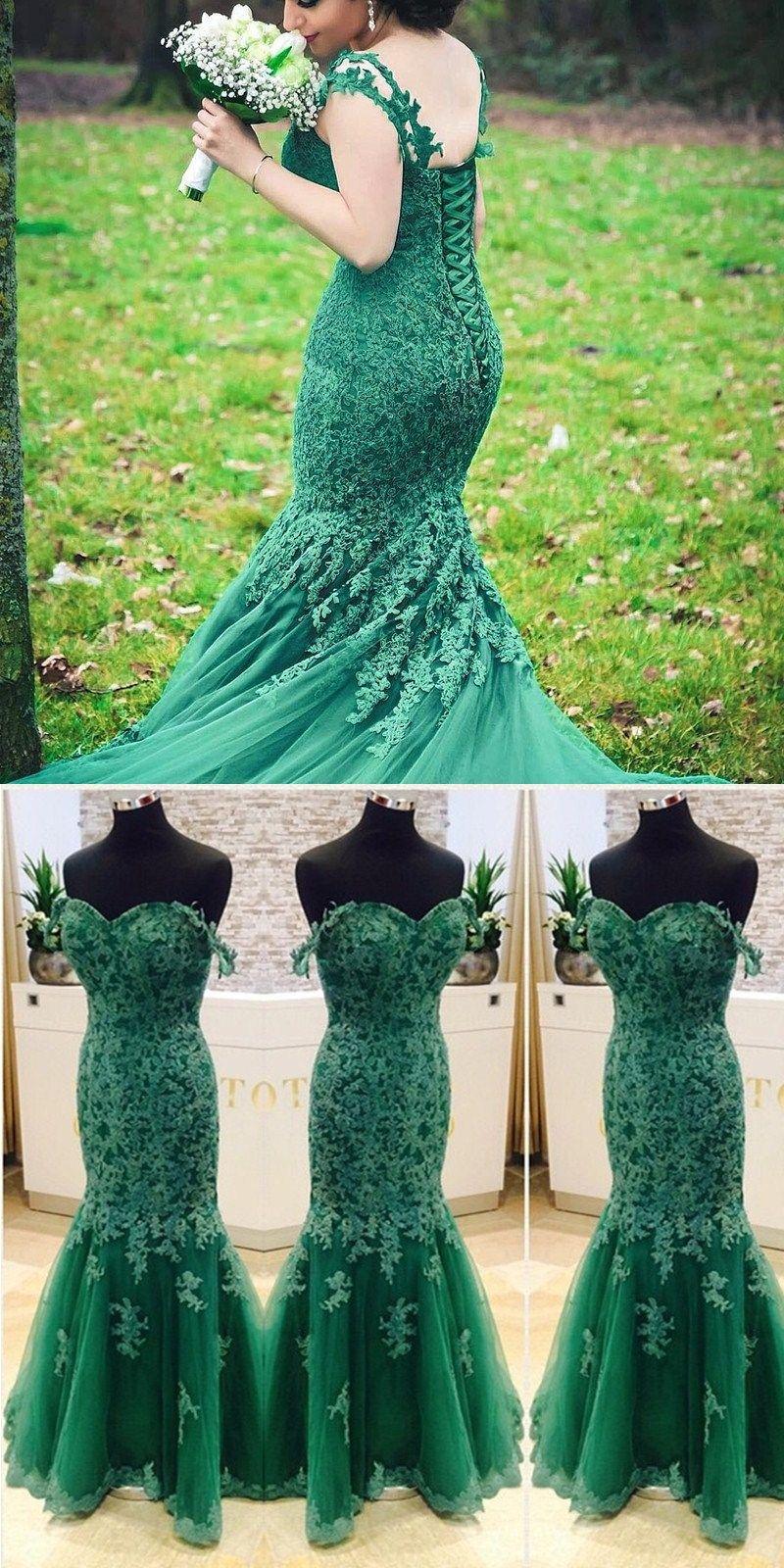 Prom dressevening dressformal gownmermaid prom dress longgreen