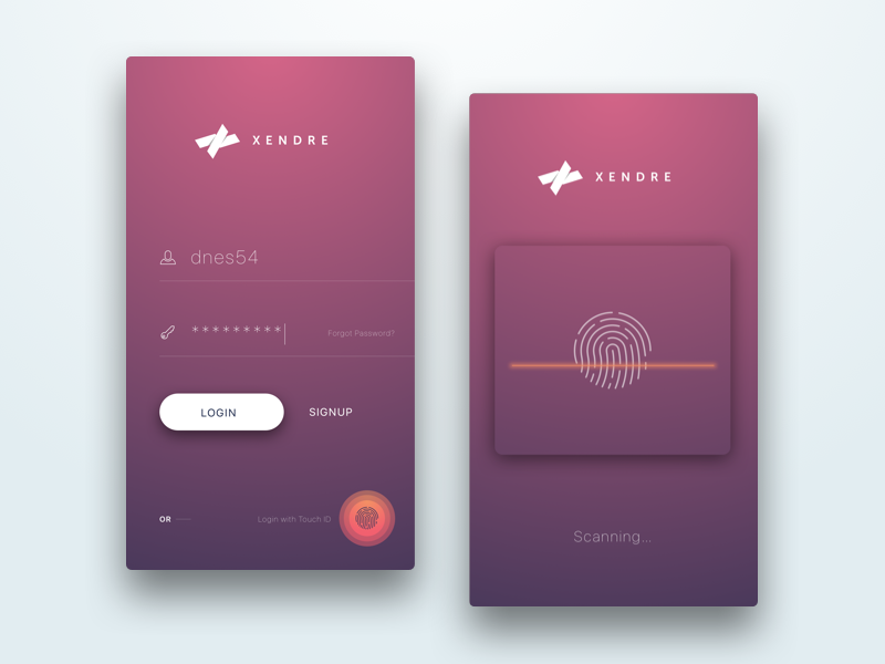 Login Screen with Touch ID Login design, Mobile web