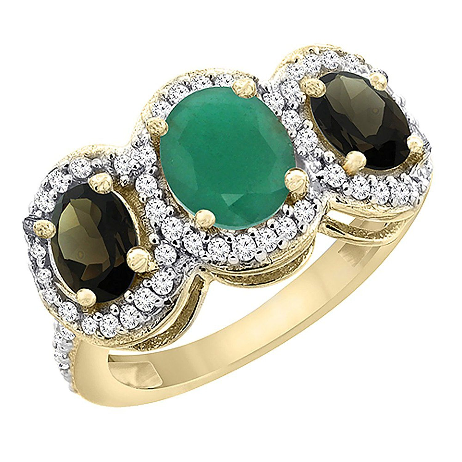 10K Yellow Gold Natural Cabochon Emerald