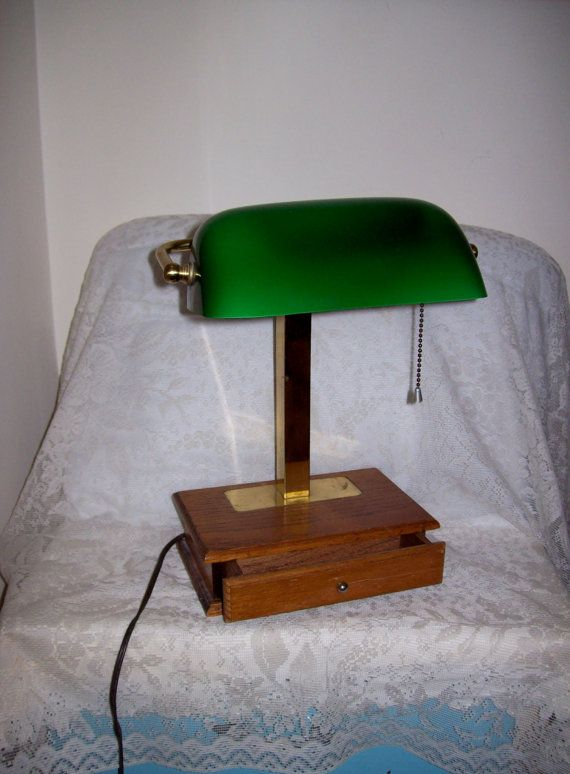 Vintage Bankers Lamp Desk Lamp W Green Glass Shade And Wood Base Only 40 Usd Bankers Desk Lamp Lamp Desk Lamp