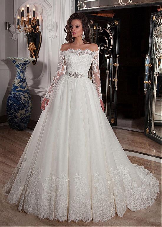 comprar Elegante Tulle fuera del hombro escote del vestido de bola ...