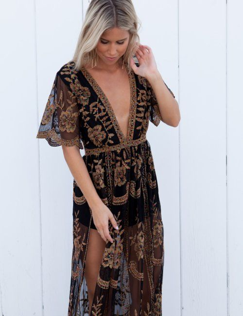 isabelle's cabinet Muse Fiesta Black Lace Maxi Dress ...