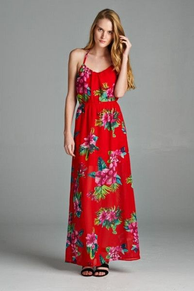 Red Floral Resort Line Maxi Dress